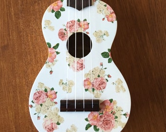 Custom Decal Floral Ukulele
