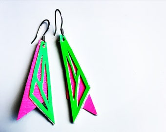 SALE -SUMMER END !!!  Geometric Neon Leather Earrings, Neon Green and Pink Leather Earrings- reg 17.00