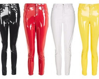 PVC Vinyl Leather Latex Pants Leggings - Black, Red, Pink, Blue, White etc