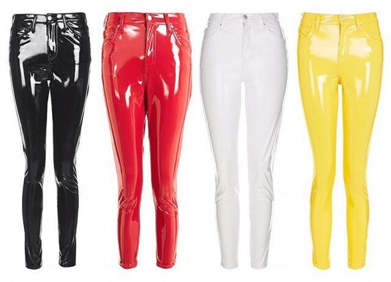 pvc vinyl leather latex pants leggings black red pink. Black Bedroom Furniture Sets. Home Design Ideas