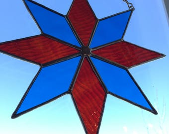 Red & blue star suncatcher