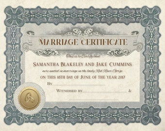 Keepsake Marriage Certificate
