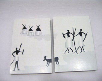 Dolls House Miniature Abstract Hunting Pictures  x 2