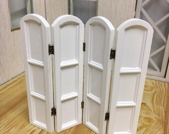 Dolls House Miniature White 4 Panel Screen