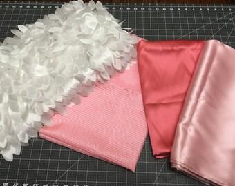 Satin Fabric, Pink Satin fabric, white feather fabric, silky fabric remnants, scrap satin fabrics, Fashion fabrics, home decor fabric scraps