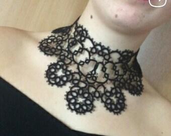 Black lace choker necklace Filigree necklace Vintage  Lace choker Chic choker necklace Gothic choker Victorian necklace Statement necklace