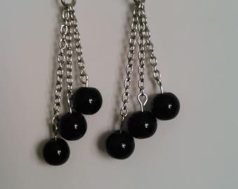 Pretty black chained dangles