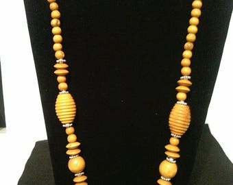 Wooden beaded necklace and earring set
