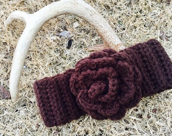 Brown crochet head band ear warmer ear muffs