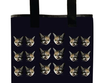 Reuseable Market Bag - Made from Recycled Materials - Eco-Friendly - Washable - Grocery Bag - Cats - Navy Blue