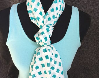Summer Infinity Scarf, Circle Scarf, White Scarf, Teal Scarf, Fashion Scarf, Dressy Scarf, Unique Scarf, Mother's Day Gift, Woman Gift