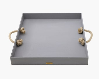 Tray Wilma wood - wooden tray - Dekotablett - chalk color grey - with rope handles