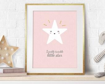 Twinkle Twinkle Little Star, Girl Nursery Decor, Nursery Art, Nursery Prints, Baby Gift, Scandinavian Style, Nursery Wall Art, Pink, Stars