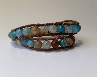 Blue bracelet, leather bracelet, Earthy bracelet, womens bracelet, leather wrap bracelet, blue gemstone beaded bracelet