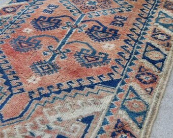 4.1'x2.3' Vintage Traditional Turkish Rug in Orange Rust and Navy