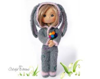 """Crochet pattern """"Doll in a rabit suit"""""""