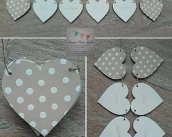 Wooden bunting stamped personalised