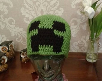 Crochet exploding creep Minecraft beanie hat