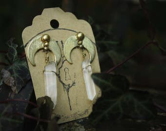 Clear Quartz Moon Statement Earrings