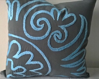 Grey and Baby Blue hand embroidered pillow cover Decorative pillow Accent pillow case Blue pillow Central Asian Tajik