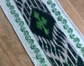 Green Ikat table runner Table decor Accent cover Bed runner Green embroidery Tajik Ikat Central Asian style Wall decor