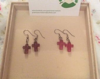 Pink/Purple and Silver Cross Earrings