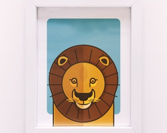 Kid Children's Nusery Animal African Lion Illustration Poster Print A4 size