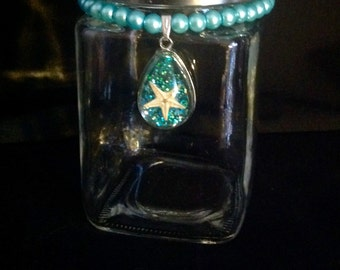 Mermaid glass jar