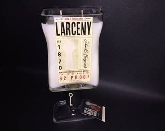 Larceny Bourbon Whiskey Bottle Soy Candle 750ML With/Without Pedestal Base. Made To Order !!!!!!!