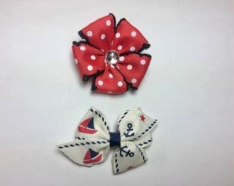 2 Handmade Hair Bows Red White Polka Dots, White Sail Boat Ribbon