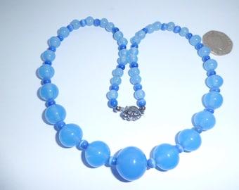 Vintage 1950's Blue Glass Bead Necklace