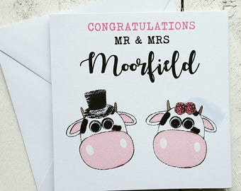 Personalised wedding card - newly wed card - Handmade card - congratulations card - Mr and Mrs card - cow card - farmer card - welsh card