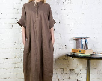 Oversized loose fitting linen summer dress, Linen dress sleeves, One size linen tunic, Linen kimono tunic/LD0008