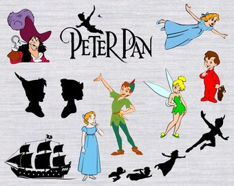 Peter Pan SVG, Tinkerbell SVG, Disney Princess SVG, Disney svg files for Silhouette, Cricut download, cut files, vector, clipart, dxf