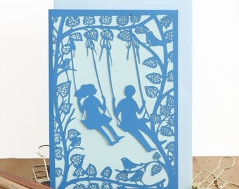 Anniversary card, Love birds card, Papercut card, Couple card, Happy ever after card, Papercut card, Card for girlfriend, Card for boyfriend