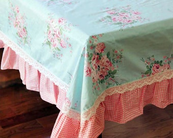 Aqua Blue Rose Cotton White Lace Red Ruffle Shabby Chic Pink Gingham  Tablecloth