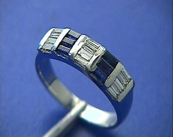 1.46ct Sapphire Diamond wedding Band 14kt White Gold