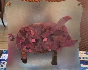 Glass pig sign