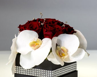 preserved flower arrangement preserved red rose and silk real touch orchid floral arrangement gift for her womens day gift home decor: day orchid decor