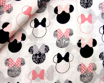 mi912A - 1 Yard SDLP Cotton Woven Fabric - Cartoon Characters, Minnie Mouse Head - White (W140)