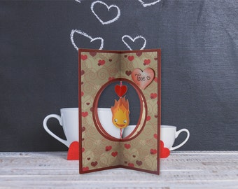 Valentine, Valentine, Calcifer, Howl's moving Castle 3D, romantic gift