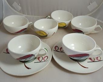 Blue Ridge Fantasia 6 Cups & 2 Saucers