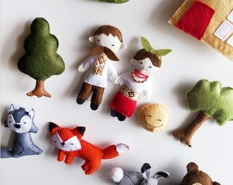 Felt Magnet Toys Theatre - Forest Animals Game - Preschool Educational Toys - Toddler Learning - Role-playing Games - Ukrainian Tale Kolobok