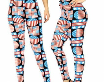 American Flag Leggings Flag Print Leggings Printed Leggings 4th of July Leggings Patriotic Leggings Independence Day FREE U.S. SHIPPING