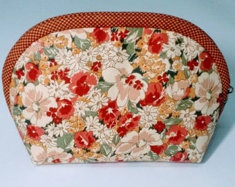 Hibiscus Flower Fabric Cosmetic Bag, Floral Fabric Cosmetic Bag, Floral Fabric Makeup Bag