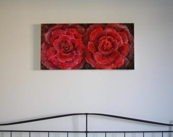 Modern fashion salon furniture painting Red Roses picture original painting pink red colored acrylic Burgundy roses large 50 x 100