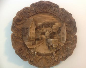 Vintage Carved Wood Resin 3D Plate  / Wall Hanging of Wildflecken in Bavaria Souvenir