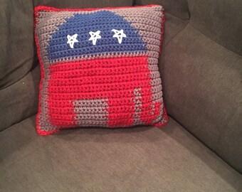 Republican elephant crochet pillow