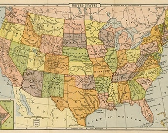 vintage map USA 1928 instant download rivers and mountain