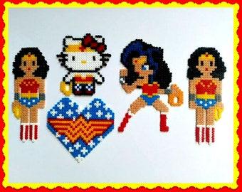 Wonder Woman, Perler beads, Hama beads, Sprite, Pixel Art, Retro, Superhero, DC Comics, Magnet, Logo, Hello Kitty Wonder Woman, Necklace,Art
